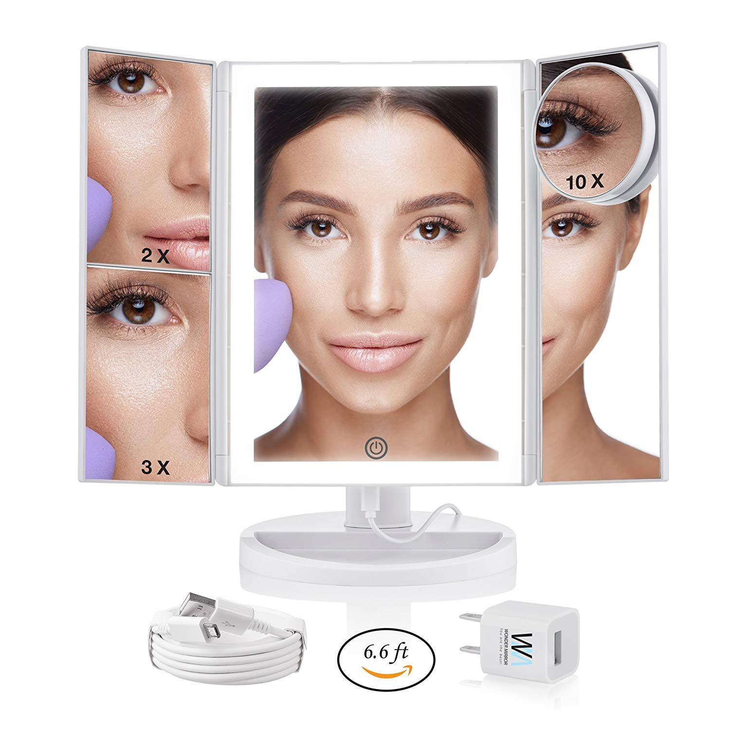 Lighted Makeup Mirror with Magnification - Trifold Desktop+10x Magnifying Cosmetic Mirrors - Vanity Makeup Mirror with Led Lights Battery or Electric - Already equipped with long 6.6 ft Cord+Charger