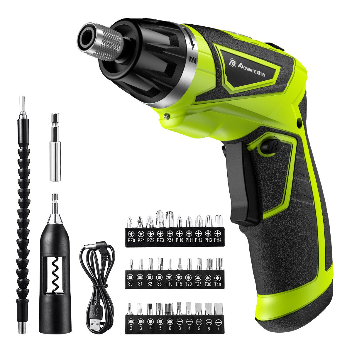 Powerextra Cordless Rechargeable Screwdriver 3.6-Volt 2000mAh Li-ion MAX Torque 6N.m Screw Power Gun with 6+1 Torque,30pcs Driver Bits,USB Charging Cable,Wine Opener by Powerextra