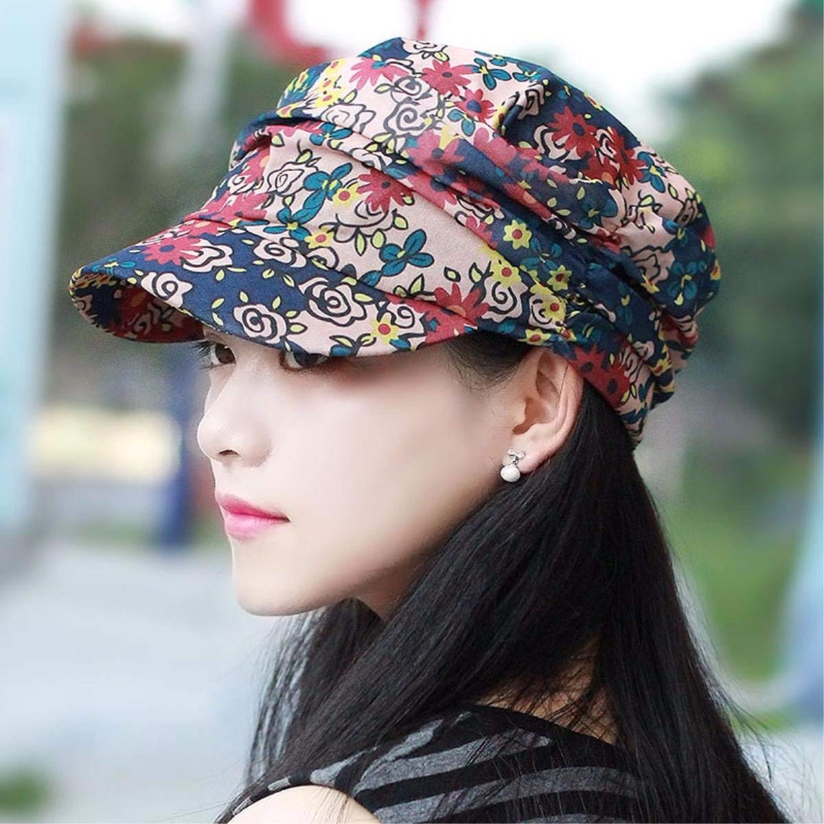 B BRNEBN Female spring and summer cap flat top hat stylish visor outdoor alpine hat CLOTH HAT