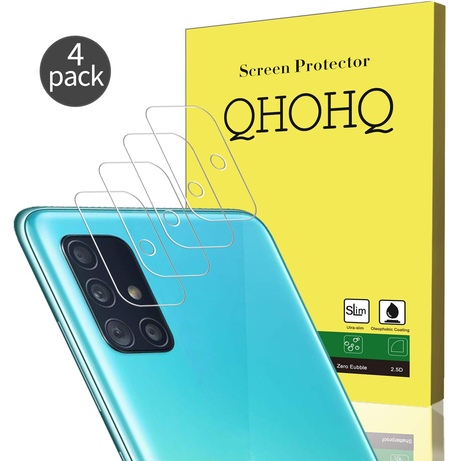 [4 Pack] QHOHQ Camera Lens Protector for Samsung Galaxy A51, Tempered Glass Ultra Thin High Definition Anti-Scratch Screen Protector (Clear)