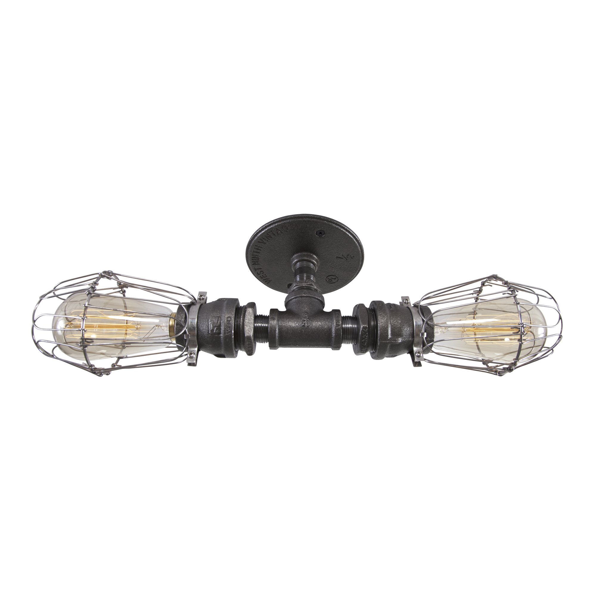 West Ninth Vintage Double Industrial Iron Pipe Ceiling Light