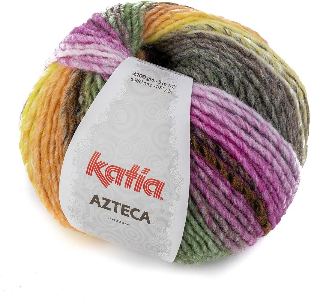 100 g//env 180 m de laine. Couleur : Negro//Rosas//Verdes//Amarillo 7869 Katia Azteca