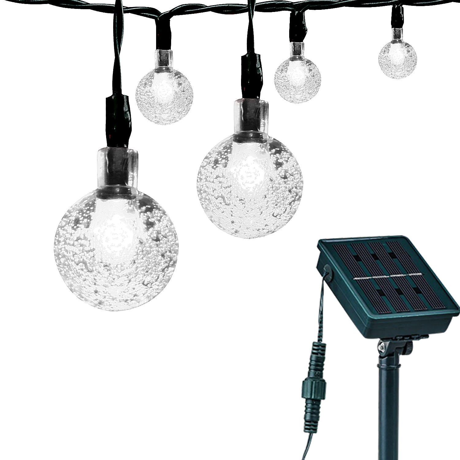 Globe String Lights Solar : Loende Solar Powered Globe String Lights, Waterproof Crystal Bulb Fairy Lights,