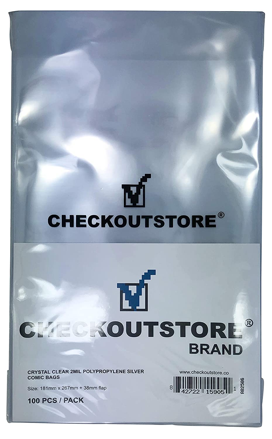 (100) CheckOutStore Crystal Clear Silver Age Comic Book Bags (Non-sealable Flap)