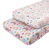 ALVABABY Stretchy Changing Pad Covers 2 Pack Bassinet Sheet Soft and Light Baby Cradle Mattress for Boys and Girls 2CZE03