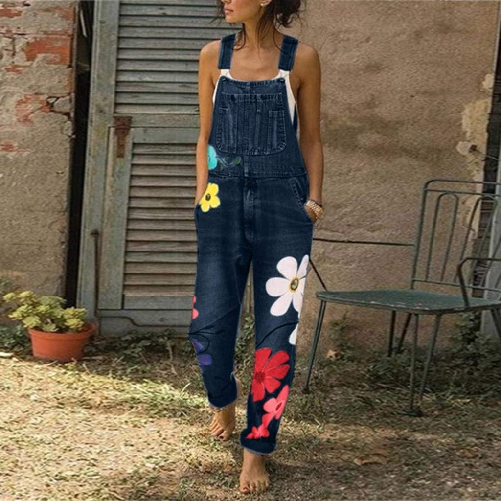 Gillberry Women/'s Fashion Jumpsuit Romper with Pockets Sleeveless Denim Bib Pants Long Floral Romper Jumpsuit Playsuit