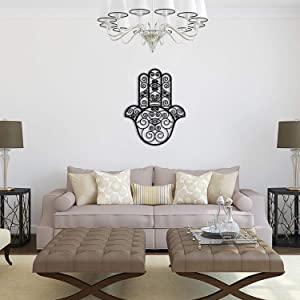 Tubibu %100 Metal Hand of Fatima Hamsa Blessing for The Home - in Hebrew - Good Luck Wall Decor Wall Art
