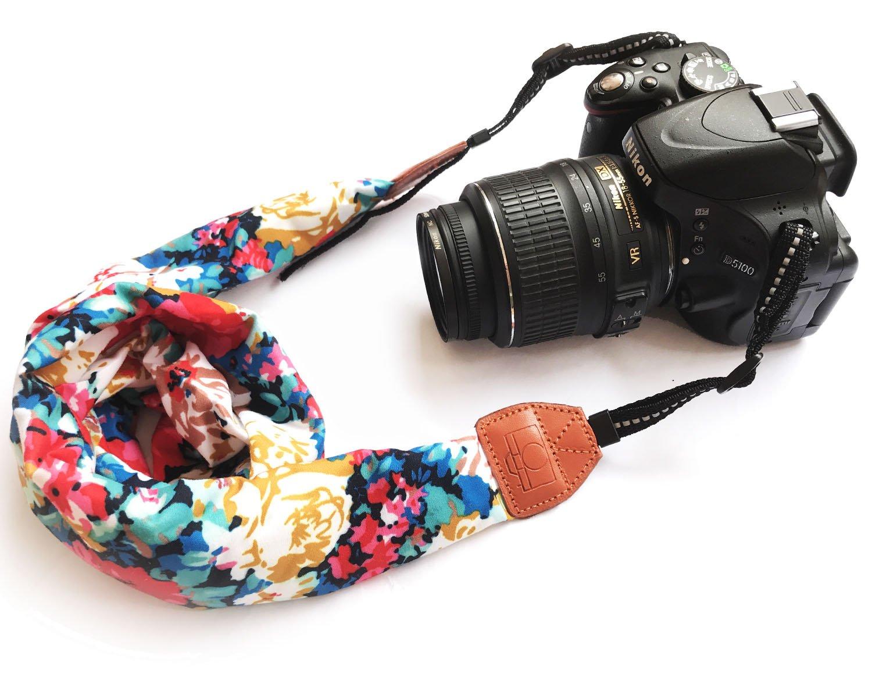 Camera Neck Shoulder Belt Strap, Alled Leather Vintage Print Soft Camera Straps for Women/Men for DSLR/SLR/Nikon/Canon/Sony/Olympus/Samsung/Pentax (Black Neck Strap+Hand Grip Strap) 4331898765