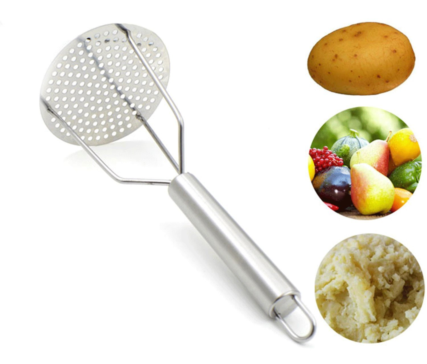 kakamono Stainless Steel Potato Masher, Potato Ricer for Smooth Mashed Potatoes, Vegetables and Fruits