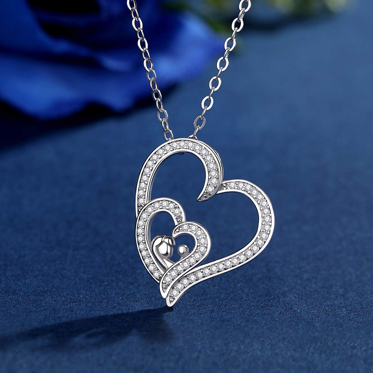 Gift for Mom 925 Sterling Silver Heat Pendant Necklace Family Love Mom and Baby in Heart Two Tone CELESTIA Jewelry for Women