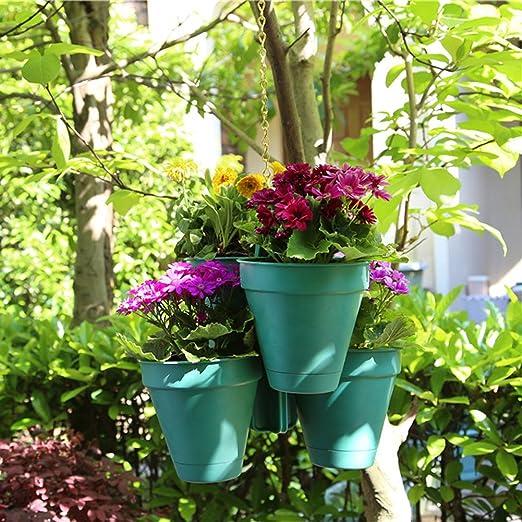 sungmor Multi-pot jardín colgante Maceta, alta calidad fuerte plástico maceta, creativa de almacenamiento de agua maceta, interior y exterior maceta decorativa de plantación, Brick Red: Amazon.es: Jardín