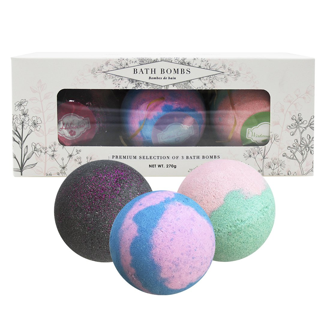 BeautyFrizz Large Bath Bombs | Hibiscus, Watermelon, Cotton Candy | Unwind with a Luxury Bathing Experience | Set of 3