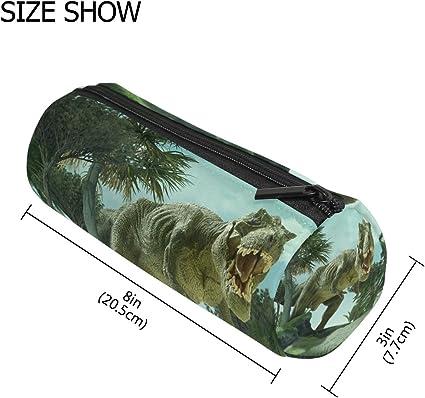 Estuche portatodo cilíndrico 3D gigante dinosaurio Destroy The Park Pen Stationery bolsa con cremallera maquillaje: Amazon.es: Oficina y papelería
