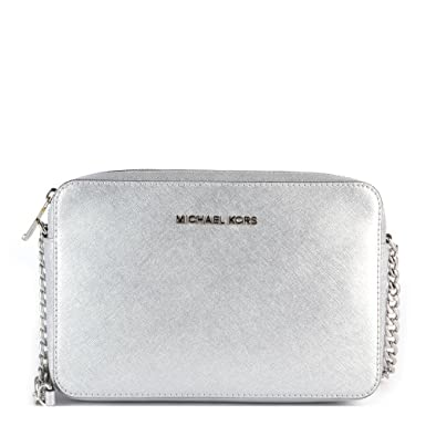 24623fc94972 Image Unavailable. Image not available for. Color: MICHAEL MICHAEL KORS Jet  Set Travel Large Metallic Leather Crossbody ...