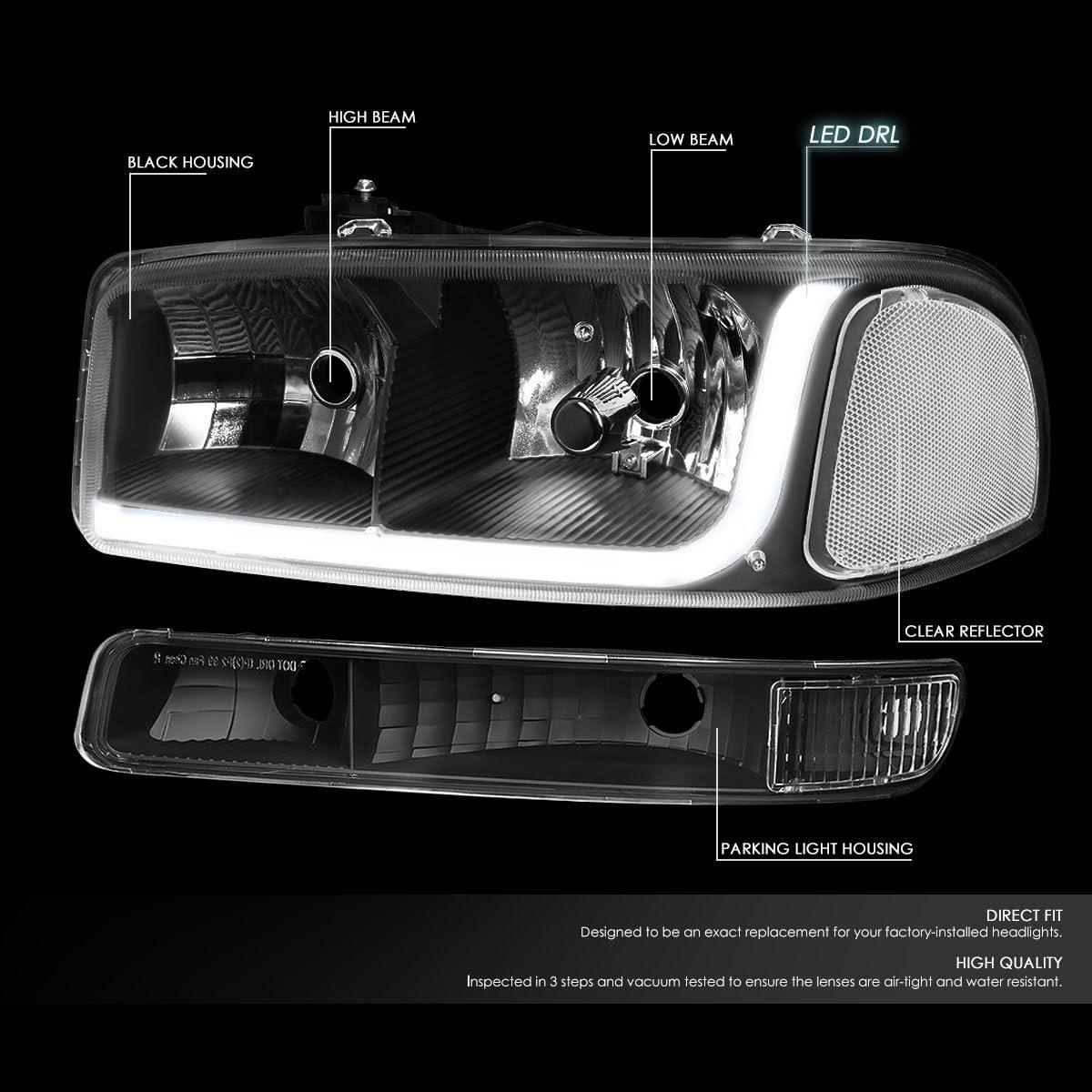 00-06 Yukon LED DRL Black Housing Clear Corner Headlight w//Bumper Lights//Lamps Replacement for 99-07 GMC Sierra Pair