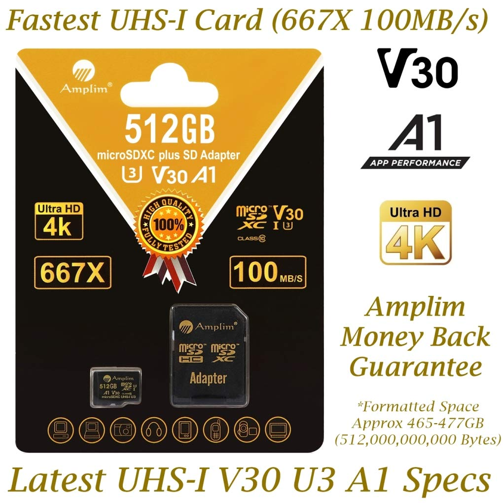Amplim 512GB V30 A1 Micro SD Card. MicroSD SDXC Memory Card Plus Adapter Pack (Class 10 U3 UHS-I XC) 512 GB Ultra High Speed 667X 100MB/s MicroSDXC TF Flash - Cell Phone, Drone, Camera, GoPro Hero 7
