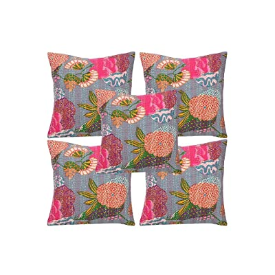 Traditional India Indian Decorative Kantha Work Vintage Floral Printed Designer Cotton Cushion Cover, 5 Pcs Lot 16x16 Inch.: Home & Kitchen