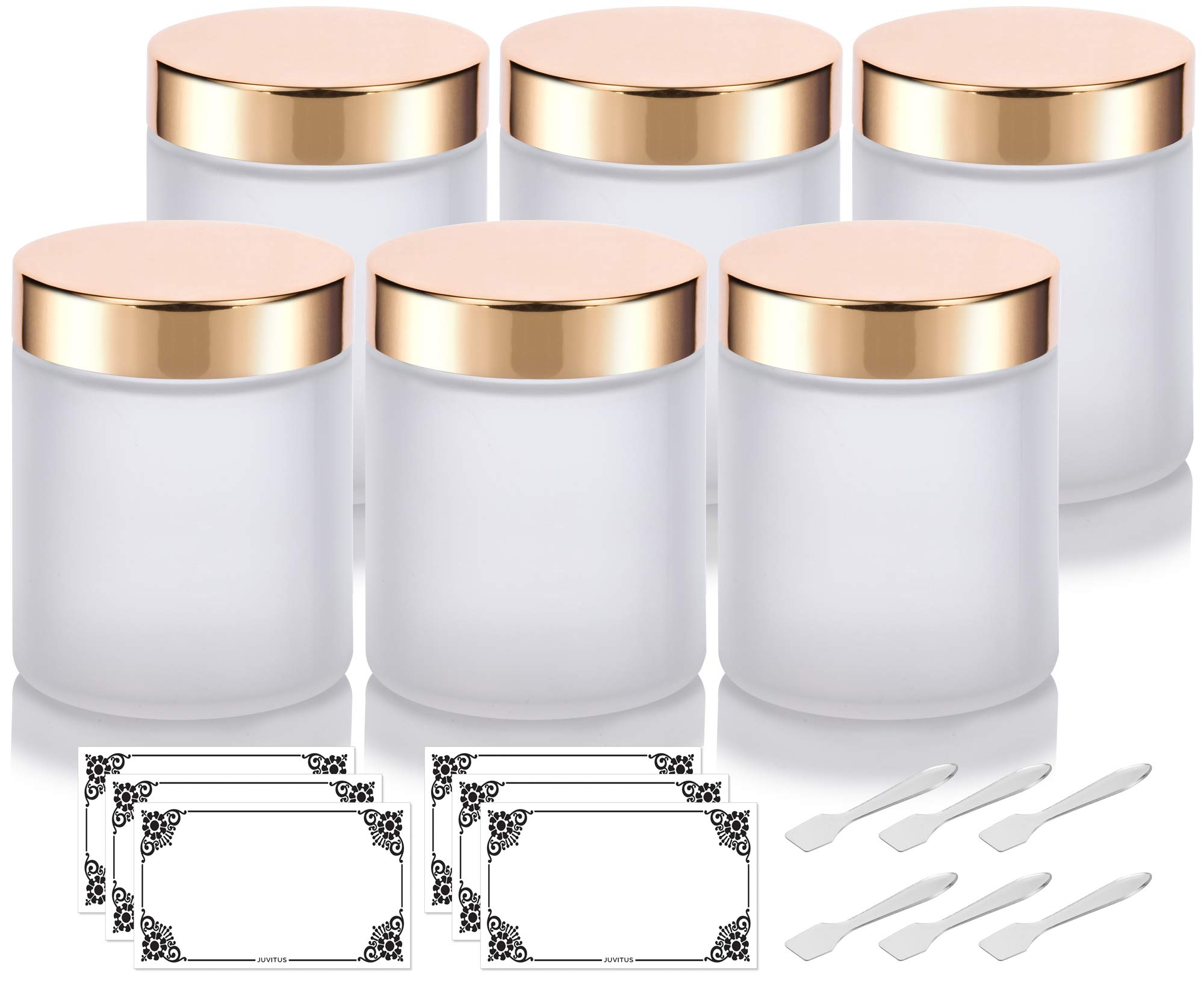 Large Frosted Clear Thick Glass Straight Sided Jar with Gold Metal Overshell Lid - 8 oz / 240 ml (6 pack) + Spatulas and Labels