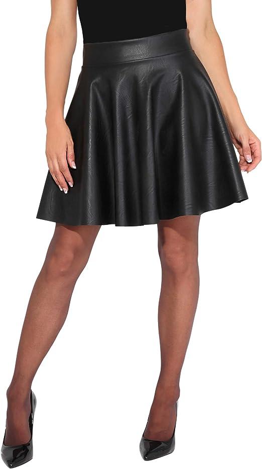 KRISP Falda Corta Mujer Negra Vuelo Fiesta Elegante Boda Minifalda ...