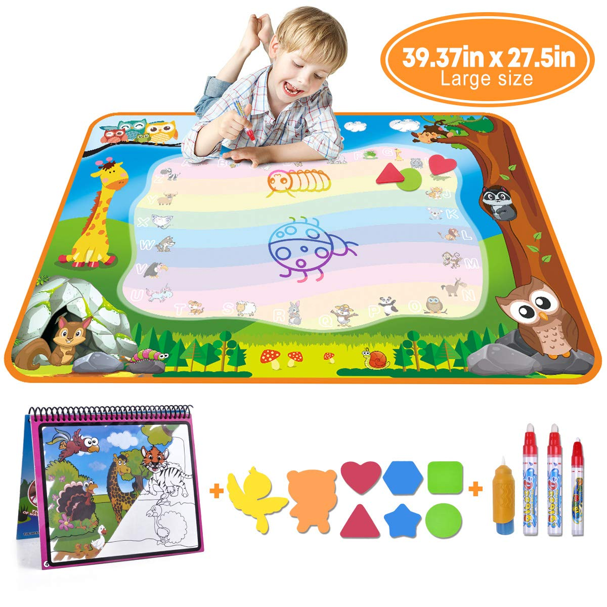MerryXGift Water Doodle Mat, Large(39.4 x 27.5in) Rainbow Drawing Mat 7 Colors Writing Pad with Aqua Water Book, 4 Magic Pens & 8 Stamps – Best Learning Toy for Toddlers Age 2 3 4 5 6 7+ Years Old