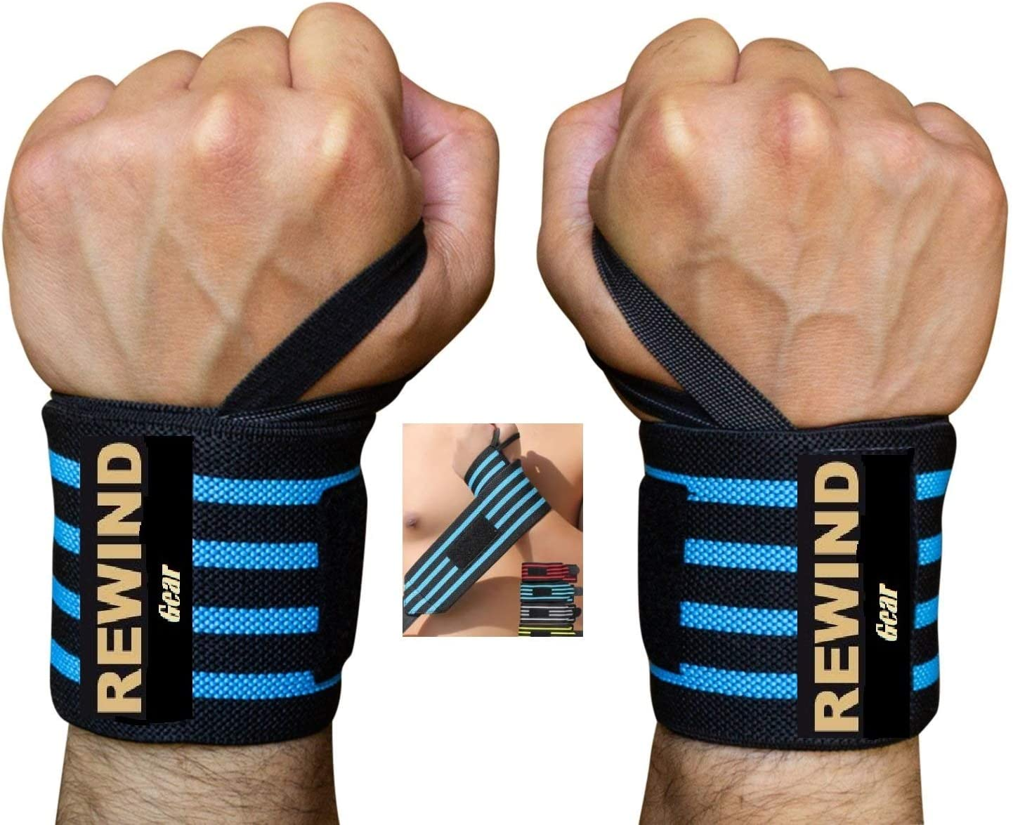 Wrist Wraps Bands Lifting Straps Gym Work Out Weightlifting, Cross Training Workout Powerlifting Bodybuilding - Support for Men Women Teens Prevents Injury while Weight Lifting -Pair