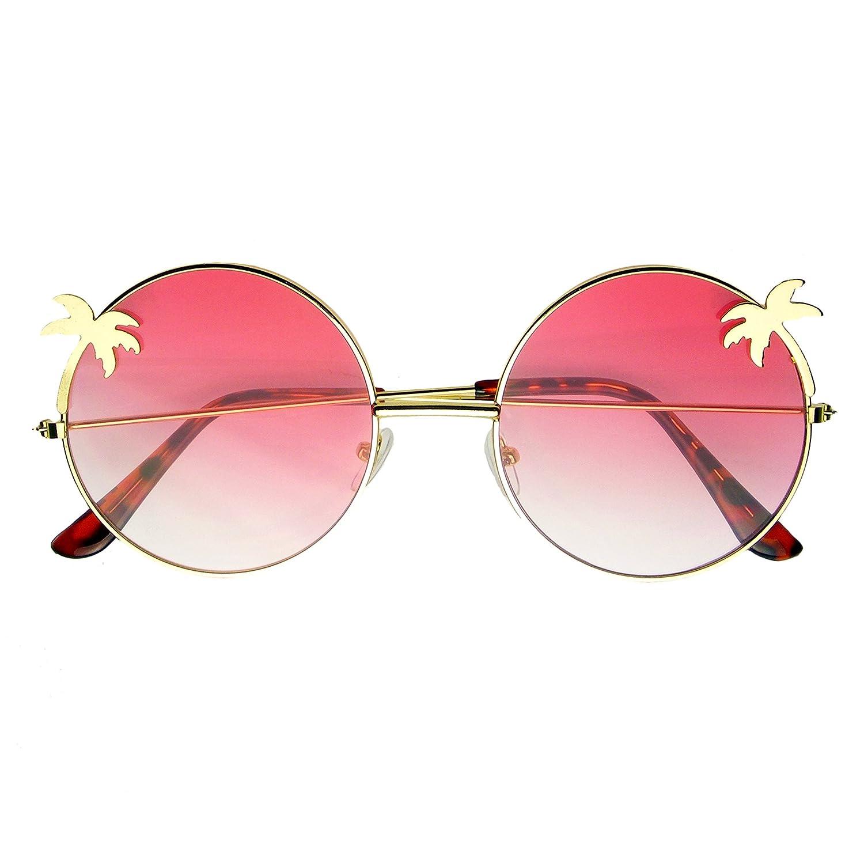Emblem Eyewear - Indie Palm Tree Gradient Lens Round Hippie Sunglasses Round Metal Sunglasses