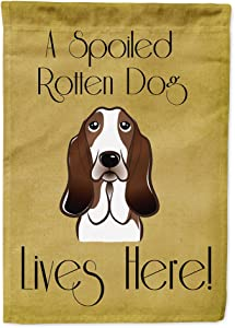 Caroline's Treasures BB1491GF Basset Hound Spoiled Dog Lives Here Flag Garden Size, Small, Multicolor