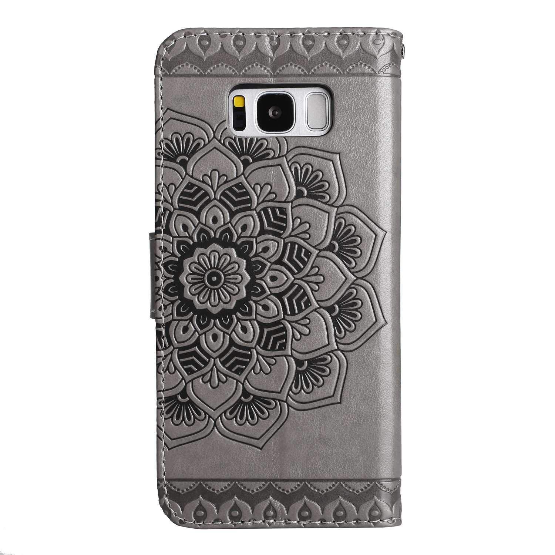 Bear Village/® Leder Flip H/ülle Weich Silikon Back Case Brieftasche Handyh/ülle mit Magnetverschluss und Standfunktion f/ür Samsung Galaxy S8 #1 Gold Galaxy S8 H/ülle