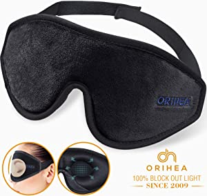 Sleep Mask for Women & Men, OriHea Upgraded 3D Contoured Eye Mask for Sleeping, Ultra Soft Breathable Sleep Eye Mask, 100% Blackout Eye Shades Blindfold for Complete Darkness