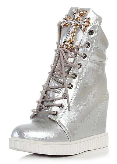 4d433a4d143108 YE Damen High Heel Plateau Lack Leder Turnschuhe mit Keilabsatz Glitter  Strass Cute High Top Sneaker