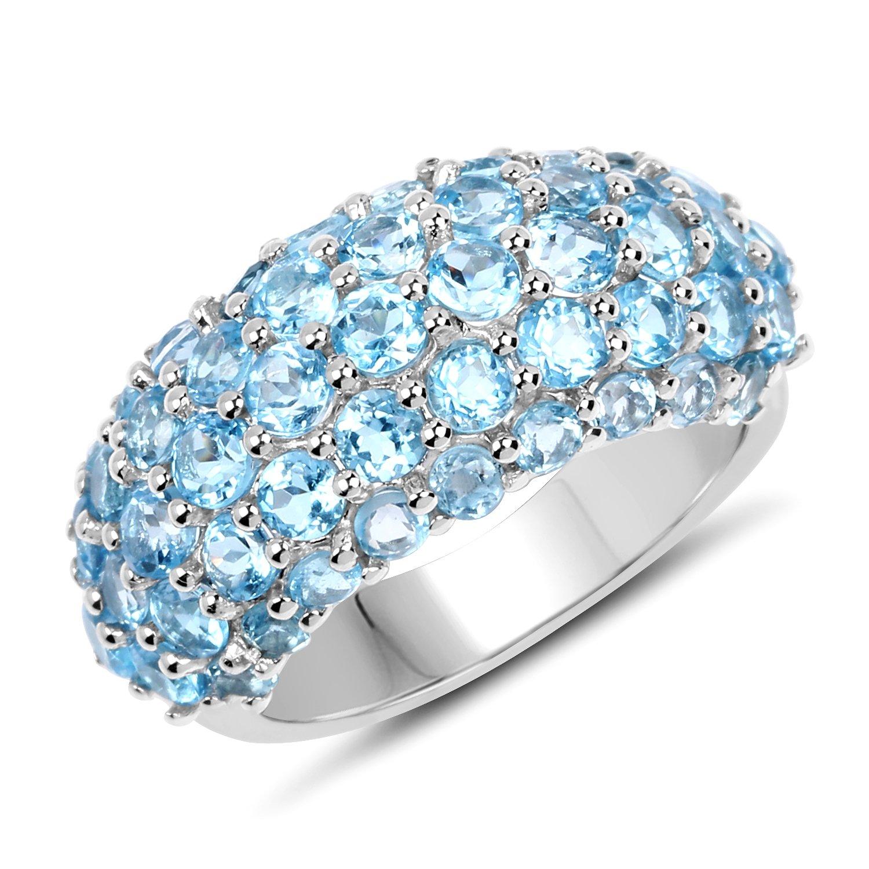 Cluster Wedding Ring 4.11 ct Genuine Blue Topaz Round Cut 925 Sterling Silver