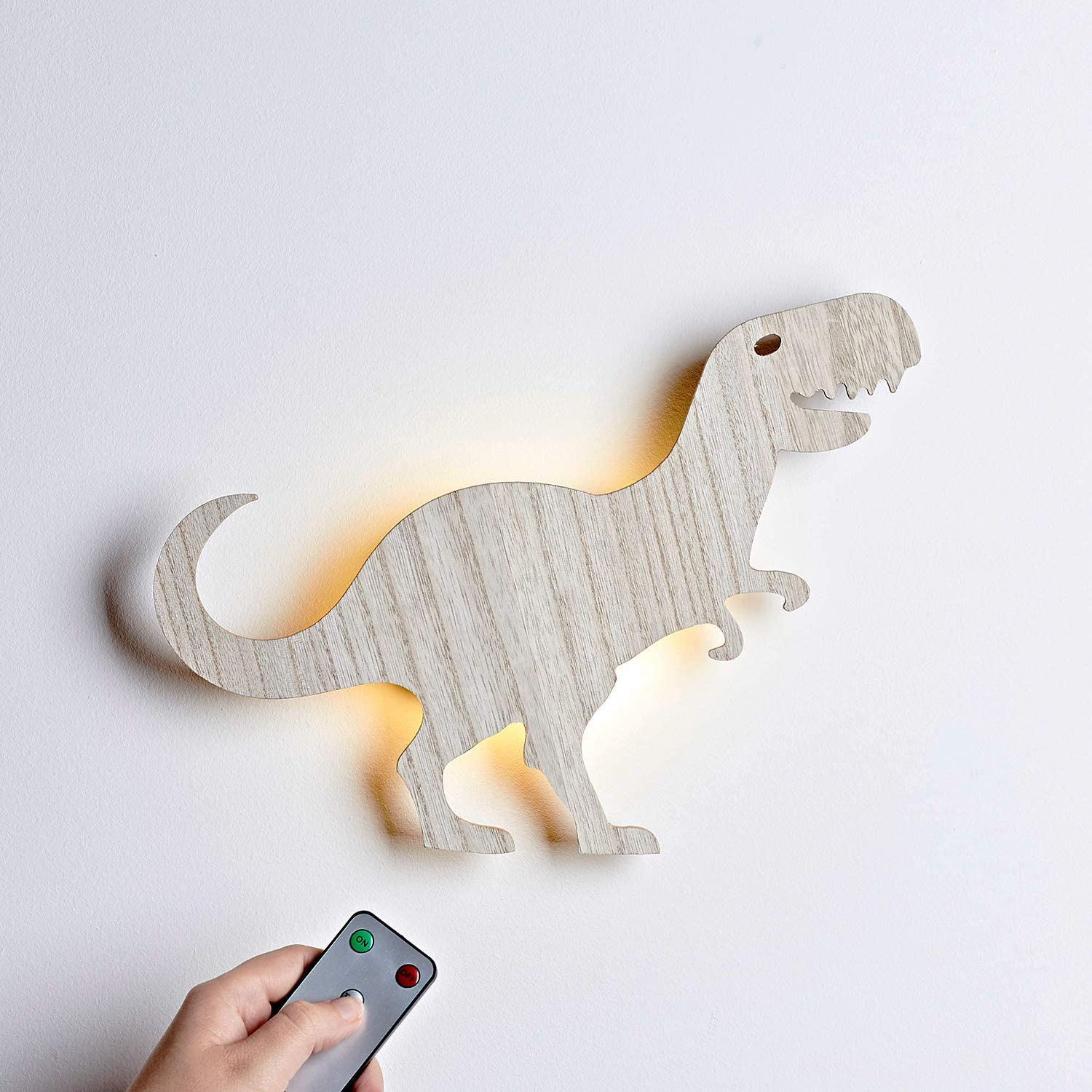 T-Rex Dinosaur Battery Operated LED Bedroom Wall Night Light with Remote Control Inc Lights4fun