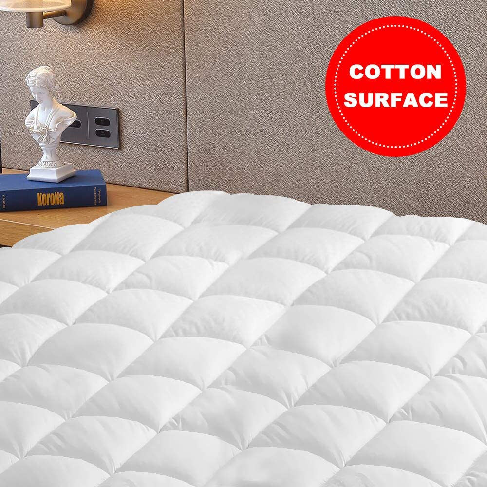 """Vekkia Queen Mattress Pad Cover - Quilted Fitted, Overfilled Bed Topper, Soft Cotton Surface Fabric, 18"""" Deep Pocket, Safe Sleep for Adults & Kids (Queen)"""