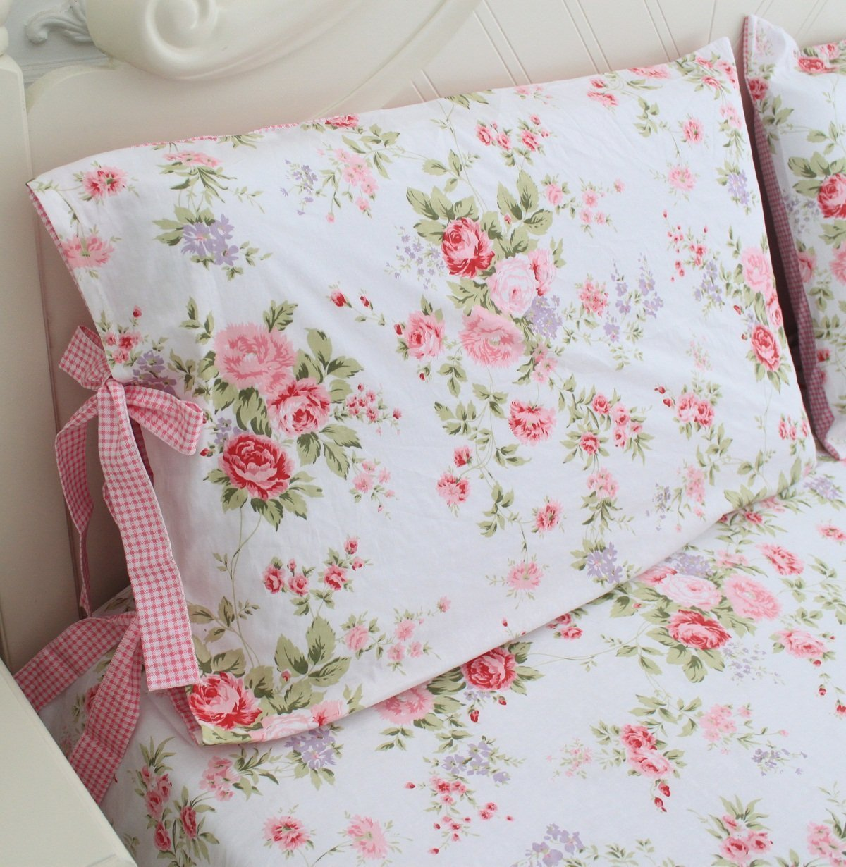 FADFAY Cotton Decorative Pillowcase Cotton Rose Floral Print Pattern Pillow Covers, 2 Pcs(Pink)