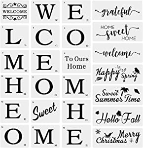 25PCS Reusable Templat for Creating Painting Beautiful Wood, Large Welcome and Sweet Home Sign Stencils Seasonal Stencils Grateful Reusable Template