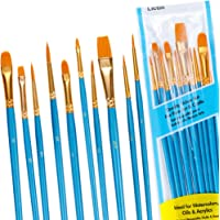 Lictin Acrylic Paint Brush Set 10 Pieces Nylon Artist Brushes Smooth Feather, Oil Painting Brushes for Watercolor…