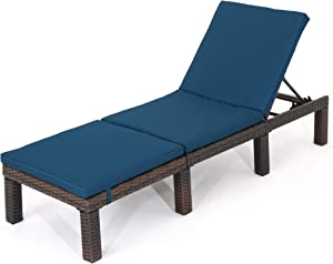 Christopher Knight Home Jamaica Outdoor Wicker Chaise Lounge with Water Resistant Cushion, Multibrown / Blue
