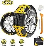 Kozart Snow Chains, 6 Pcs Emergency Tire Chains for Pickup Trucks/Cars/SUV/ATV,