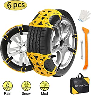 Kozart Snow Chains, 6 Pcs Emergency Tire Chains for Pickup Trucks/Cars/SUV/ATV, Universal Anti Slip Snow Chains Thickened TPU, Adjustable Traction Tire Straps, Snow Tire Chains