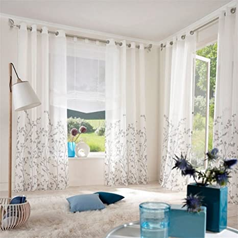Amazon.de: ZALAGO Schlaufenschal Fenster Stoffdruck Blumen ...