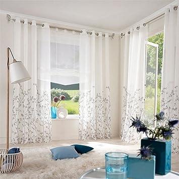 Amazon.de: ZALAGO Schlaufenschal Fenster Stoffdruck Blumen Gardine ...