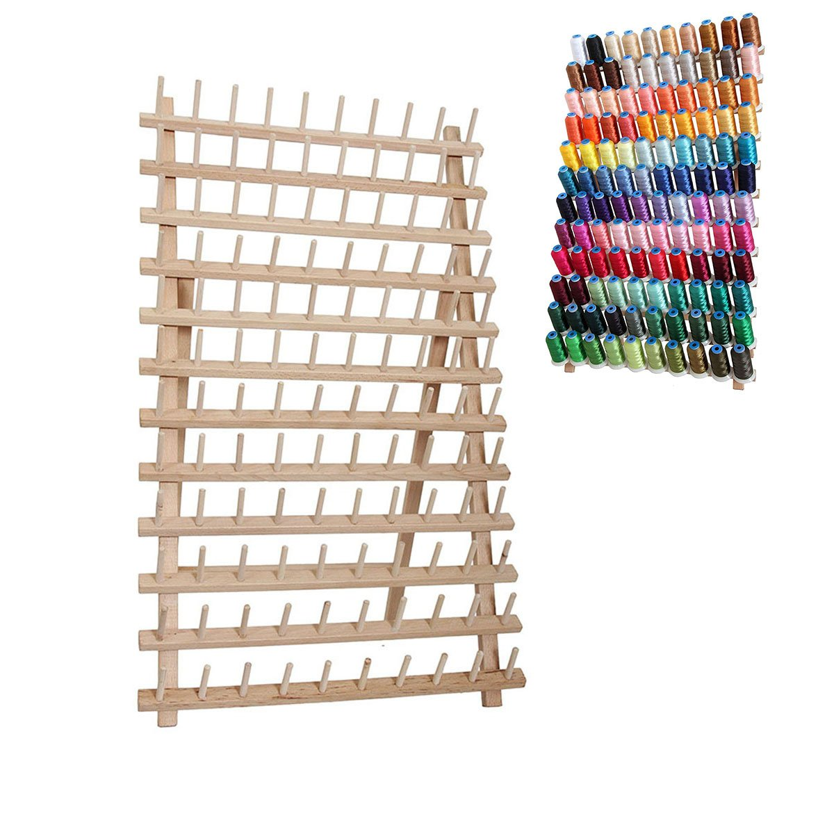 Healifty Wooden Thread Rack Sewing Embroidery Thread Rack for Sewing Quilting Embroidery Threads Cones 2pcs by Healifty