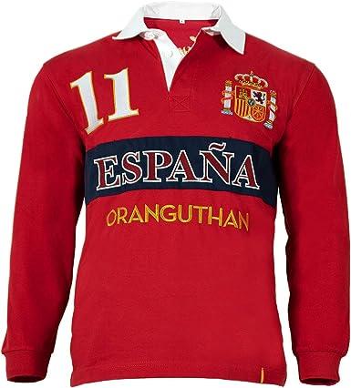 Oranguthan Camiseta Polo Rugby España Hombre Manga Larga, Rojo, 100% Algodón, 280gr, Estilo Deportivo, Original (S): Amazon.es: Ropa y accesorios