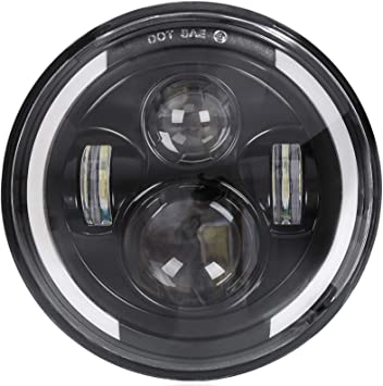 2 Pack Halo Headlamp Fit For Harley Davidson Motorcycles w//Harness 7 Inch LED HeadLights Assembly For Hummer /& Jeep Wrangler