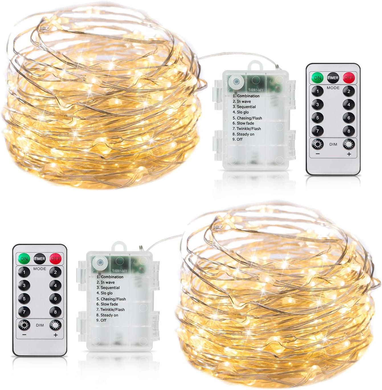 2 Pack 33ft Fairy Lights Battery Operated with Time Function and 8 Mode Remote, 100 LED Waterproof Starry String Lights for Bedroom Indoor Outdoor Wedding Dorm Decor, Warm White