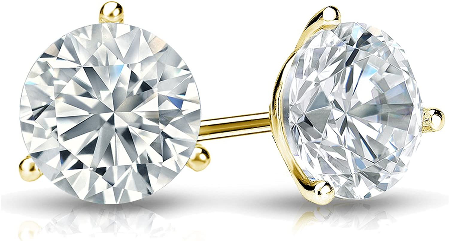 1//4-2 cttw, Excellent Quality 14k Yellow Gold Mens Round Diamond Simulant CZ Stud Earrings 3-Prong