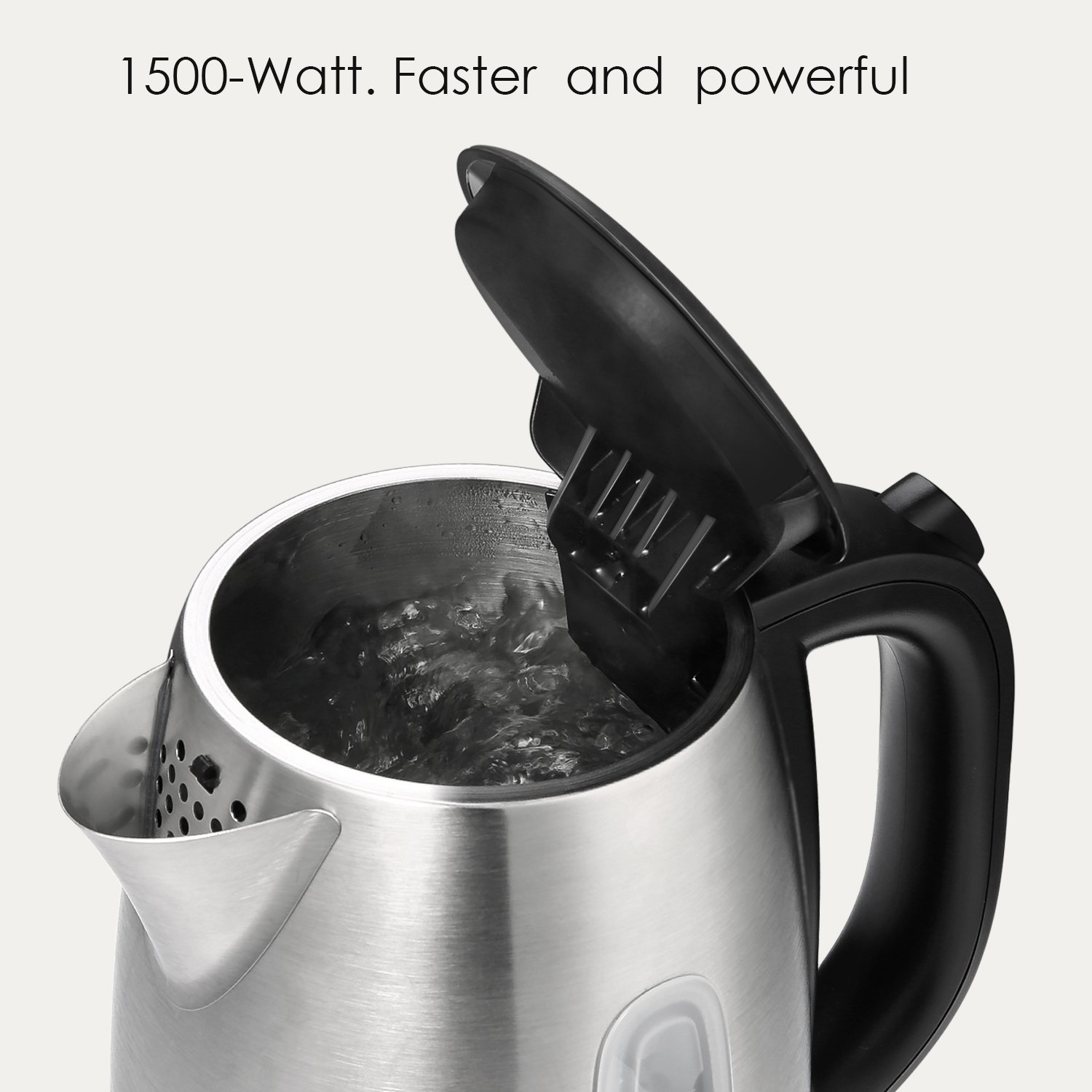 Electric Kettle 1.7L Stainless Steel Tea Kettle with British Strix Control, 1500W Fast Boiling Water Kettle, Hot Water Kettle Electric with Auto Shut-Off, BPA-Free By Aicok by AICOK (Image #3)