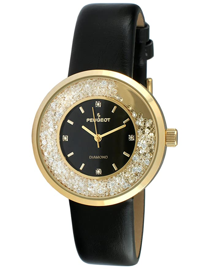 Peugeot Women's Round 14K Gold Plated Slim Thin Genuine Diamond Floating CZ Black Band Dress Watch 3041GBK