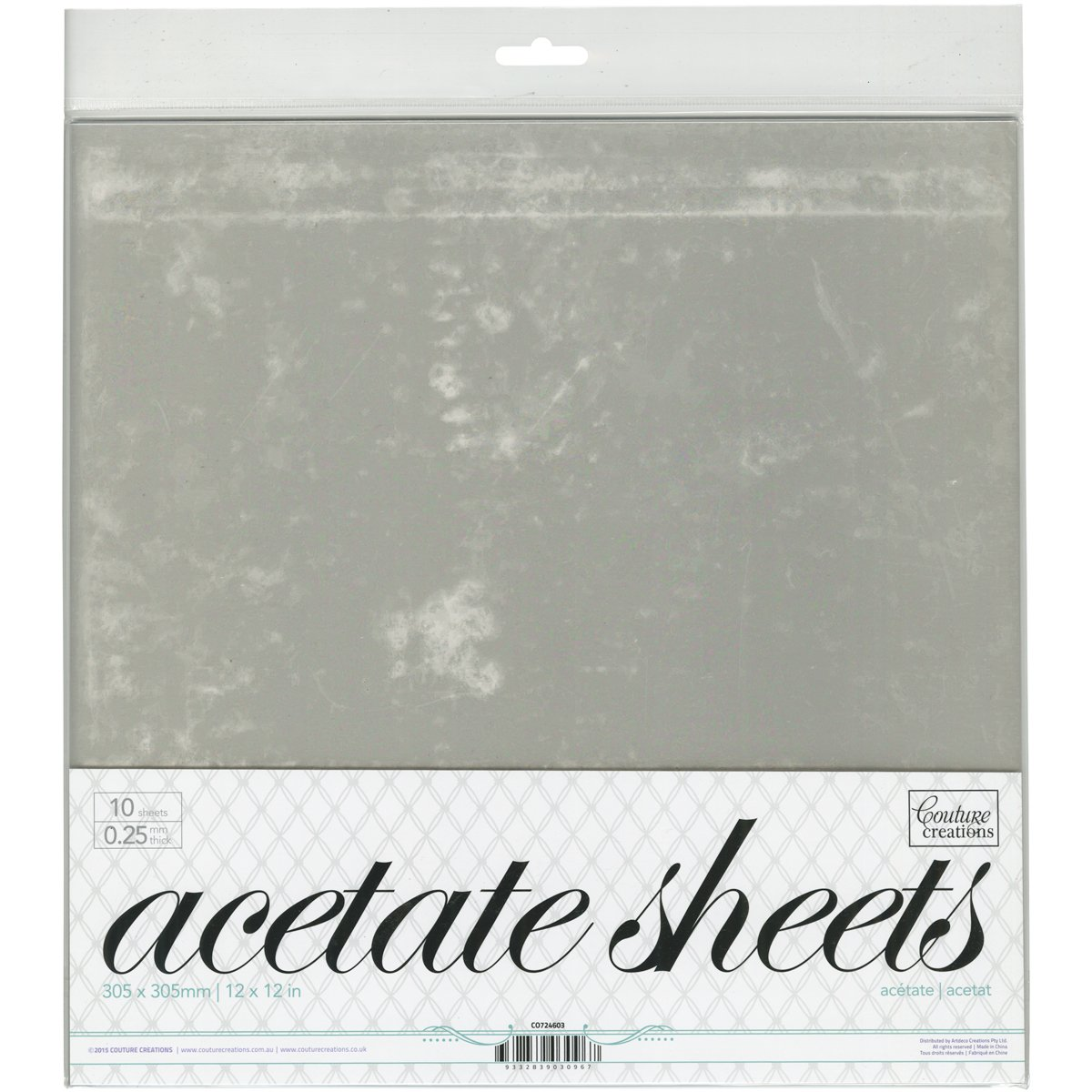 Couture Creations Acetate Sheets 12''X12'' 10/Pkg-.25mm
