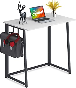4NM Folding Desk with 2-Hook Small Computer Desk Home Office Desk Foldable Table Workstation for Small Places (White and Black)